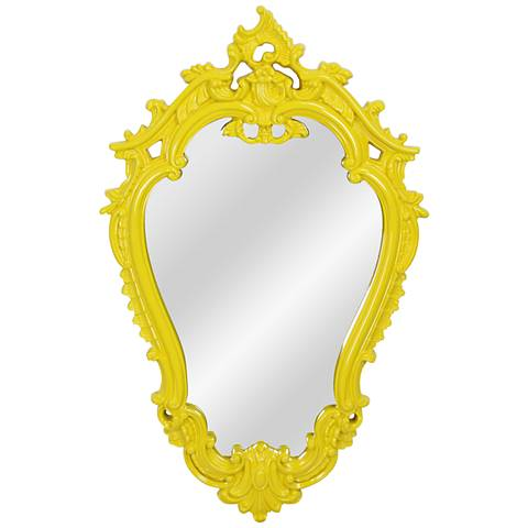 """Victorian Canary Yellow 22 1/4"""" x 35"""" Framed Wall Mirror"""
