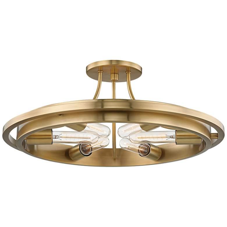 "Hudson Valley Chambers 21""W Aged Brass 6-Light Ceiling Light"