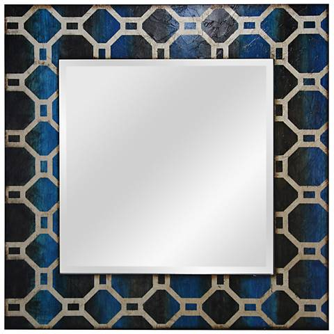"Black and Blue Lacquer Geometric 30"" Square Wall Mirror"