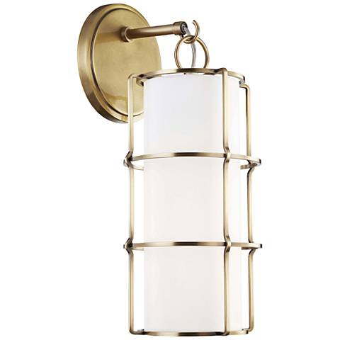 "Hudson Valley Sovereign 16"" High Aged Brass LED Wall Sconce"