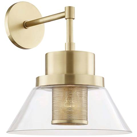 "Hudson Valley Paoli 15 1/4"" High Aged Brass Wall Sconce"