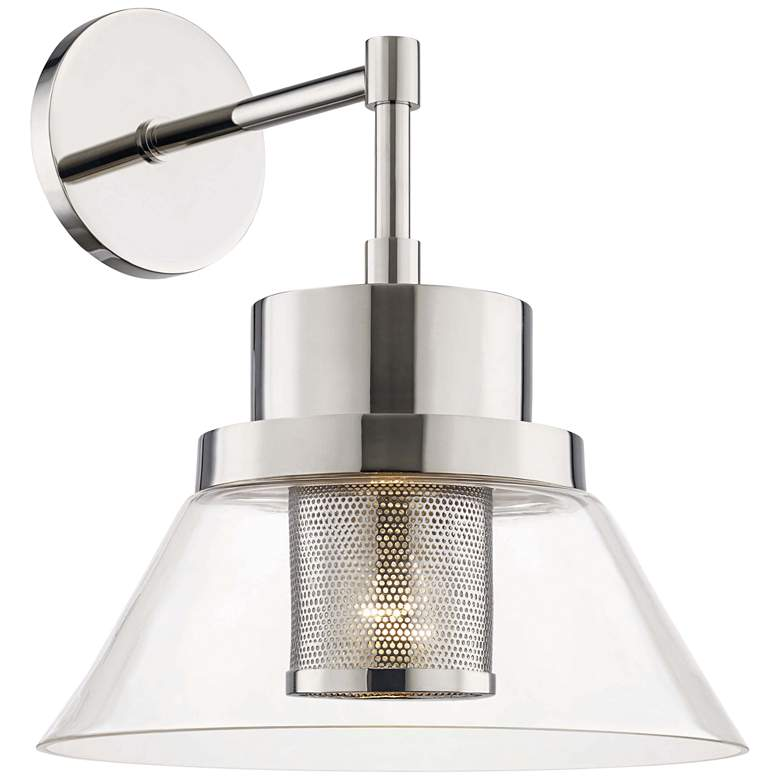 "Hudson Valley Paoli 15 1/4"" High Polished Nickel Wall Sconce"