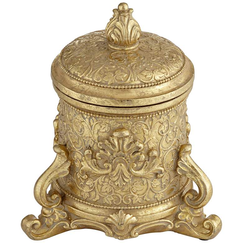 "Britton 7"" High Antiqued Gold Traditional Jewelry Box"