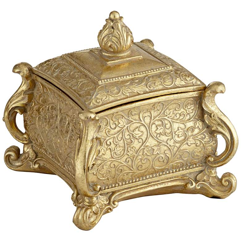"""Woolley 5 3/4"""" Wide Square Antiqued Gold Jewelry Box"""