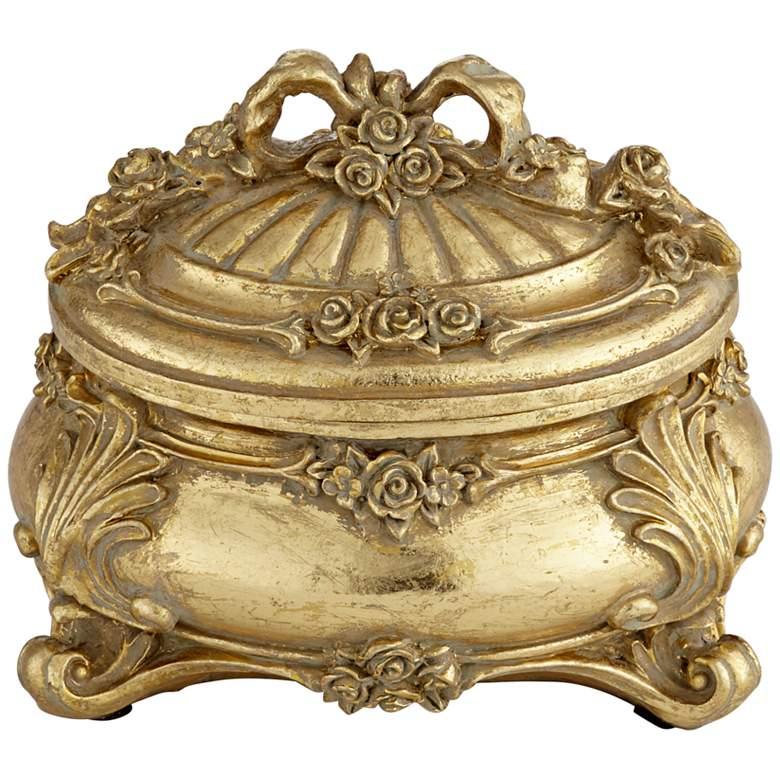 "Keiron 5"" High Round Antiqued Gold Jewelry Box"