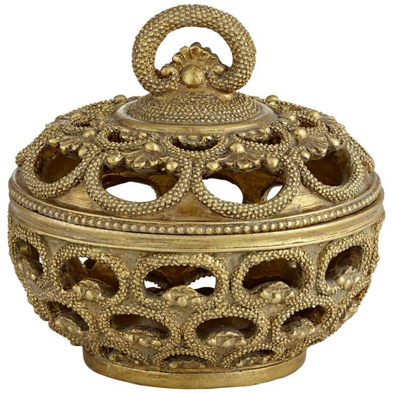 """Riya 5"""" Wide Antiqued Gold Openwork Jewelry box"""