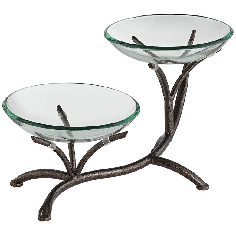 """Metal Branching 20 1/2"""" High 2-Tier Stand with Glass Bowls"""