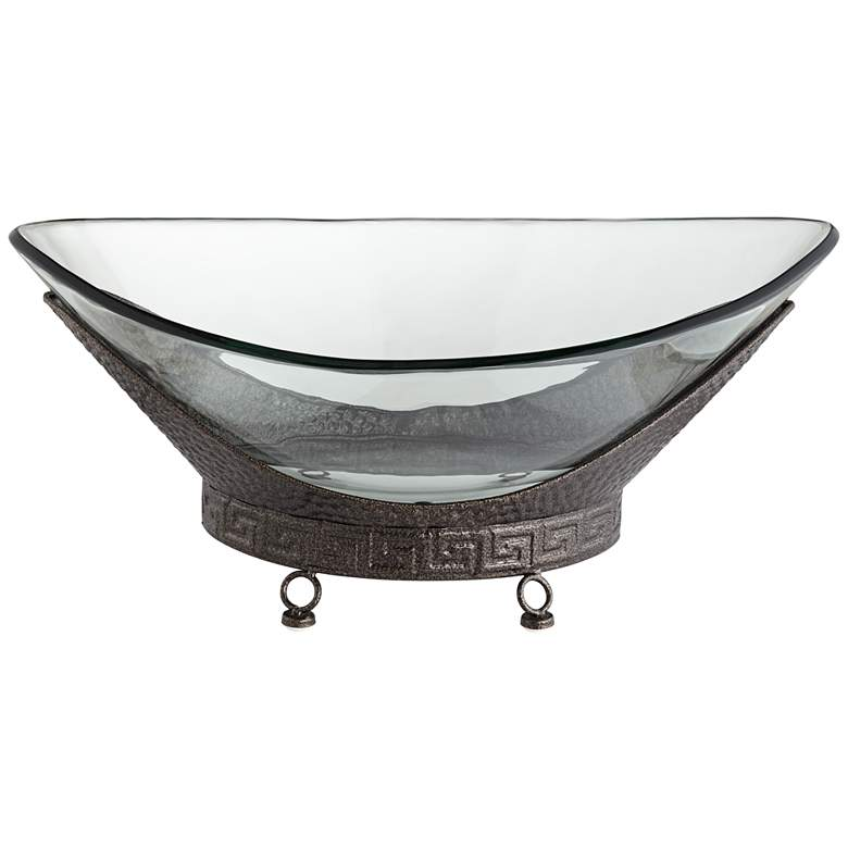 """Barlow 23 1/4"""" Wide Decorative Glass Bowl with Bronze Base"""