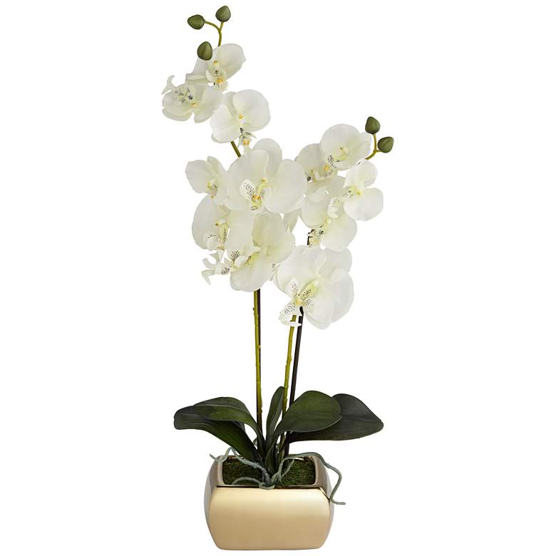"""White Orchid  22"""" High Faux Flowers in Gold Ceramic Pot"""