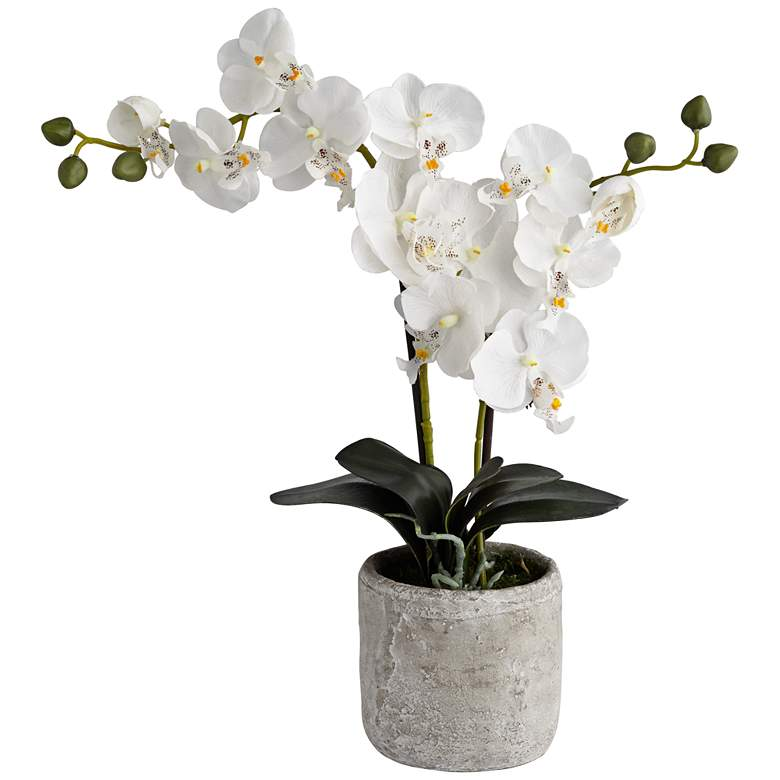 """White Orchid 20 3/4"""" High Faux Flowers in Grey Ceramic Pot"""