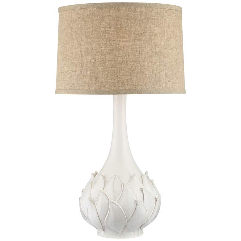 Possini Euro Kenya White Ceramic Table Lamp