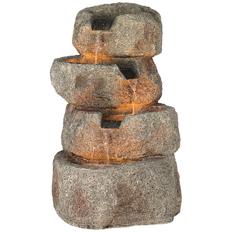 "Glacial Rock Zen 30"" High Water Fountain with LED Lights"