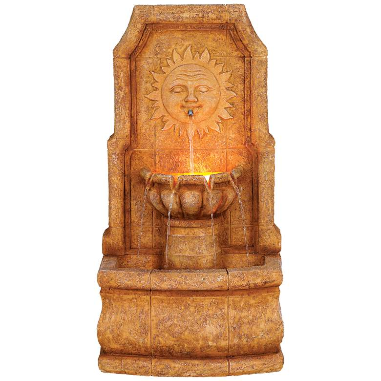 """Sun Villa Faux Stone 37""""H Outdoor Fountain with LED Lights"""