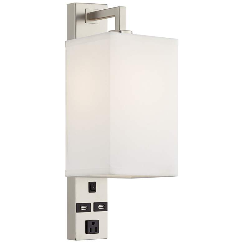 """Headboard 19"""" High Modern Plug-In Wall Light with USB Ports and Outlet"""