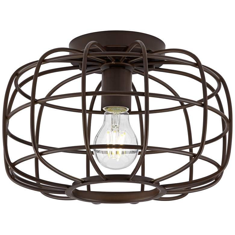 """Epstein 12"""" Wide Oil-Rubbed Bronze Caged Ceiling Light"""