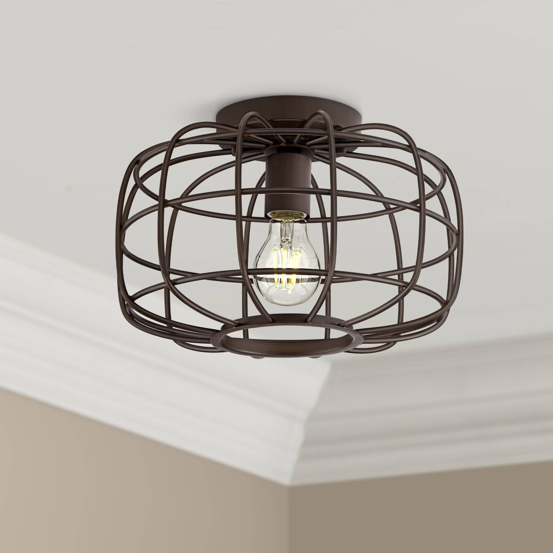 Details About Rustic Farmhouse Ceiling Light Flush Mount Fixture Oiled Bronze 12 For Bedroom