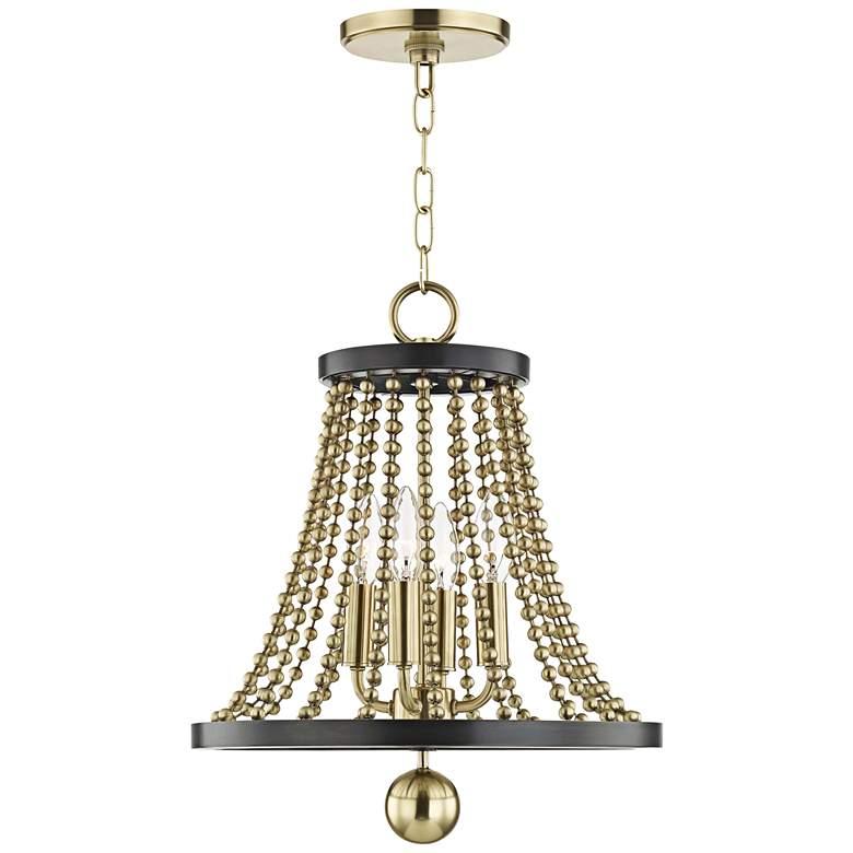 "Hudson Valley Spool 14 1/4""W Aged Brass 4-Light Chandelier"