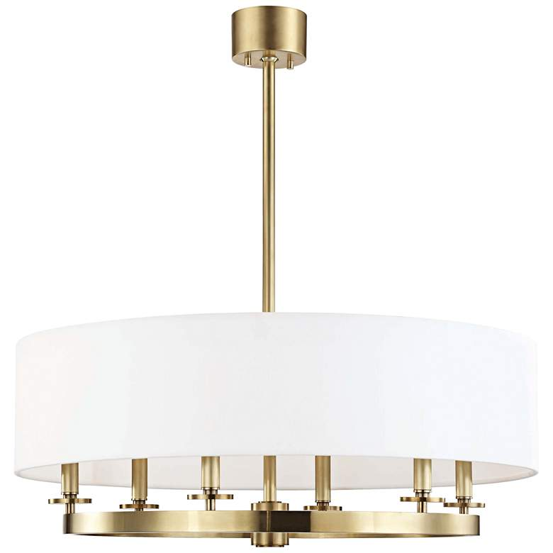 "Hudson Valley Durham 30 1/2"" Wide Aged Brass 6-Light Pendant"