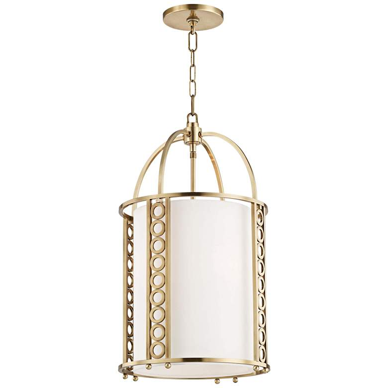 "Hudson Valley Infinity 14"" Wide Aged Brass Pendant Light"