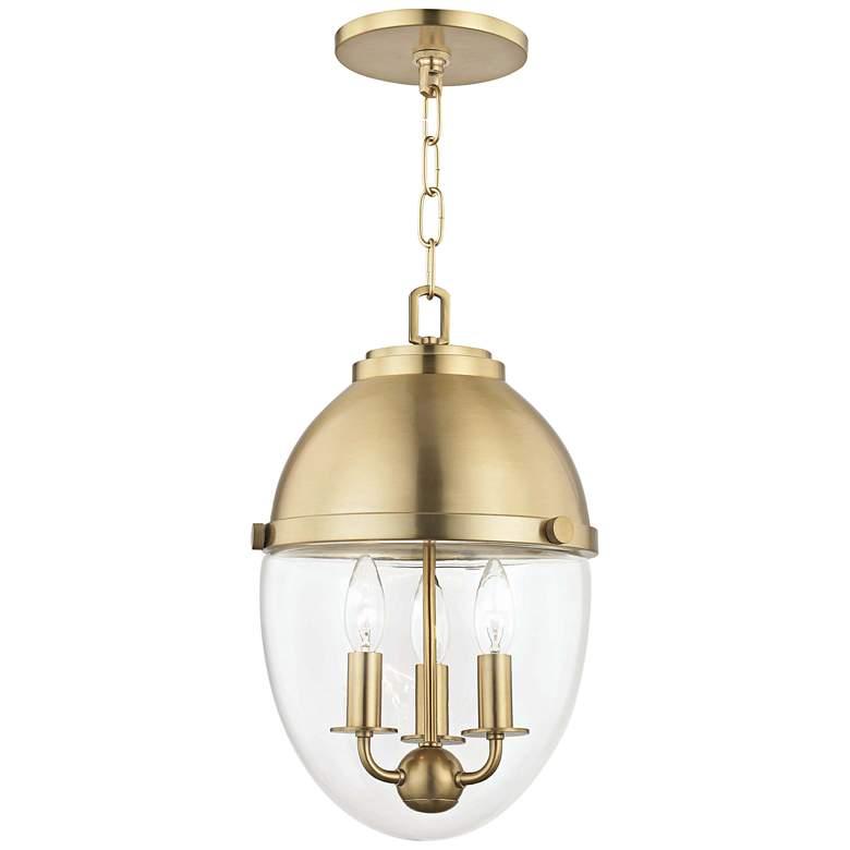 "Hudson Valley Kennedy 10""W Aged Brass 3-Light Mini Pendant"