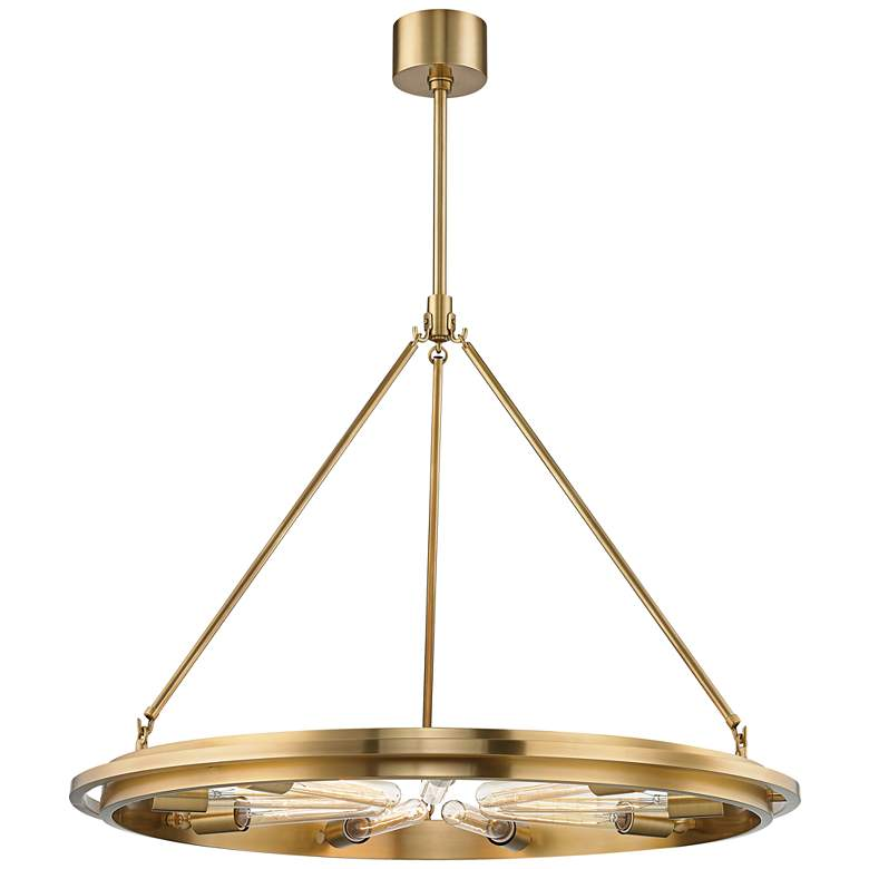 """Hudson Valley Chambers 32"""" Wide Aged Brass 9-Light Pendant"""