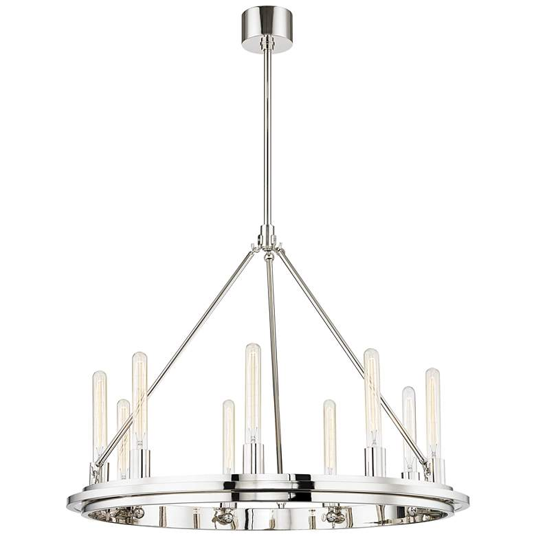 "Hudson Valley Chambers 32"" Wide Nickel 9-Light Chandelier"