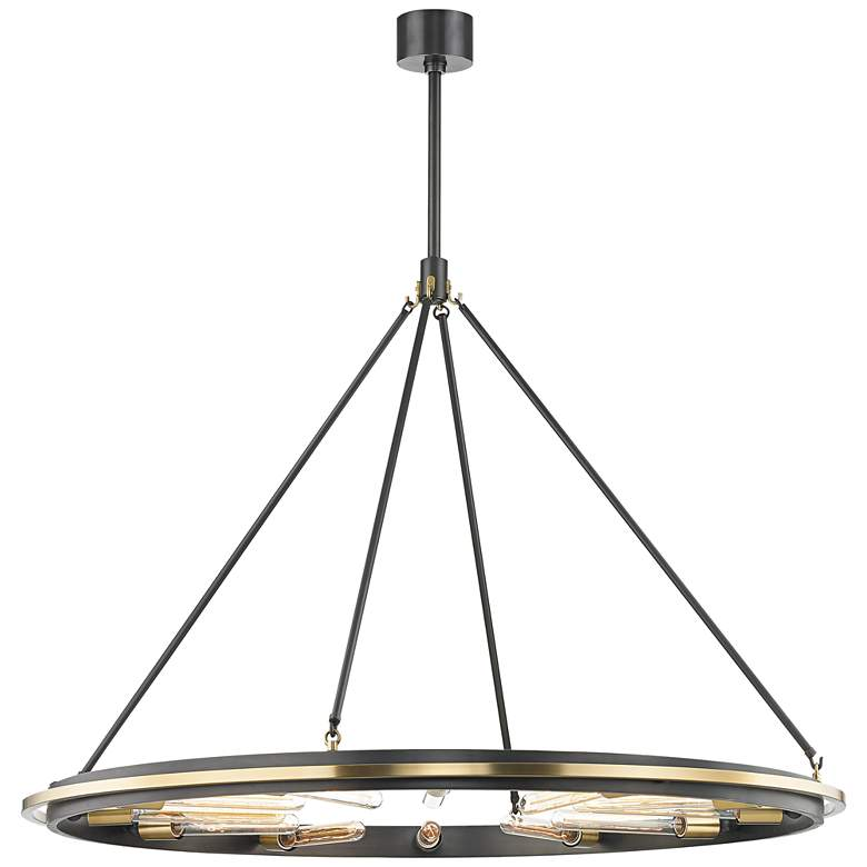 """Hudson Valley Chambers 45"""" Wide Old Bronze 12-Light Pendant"""