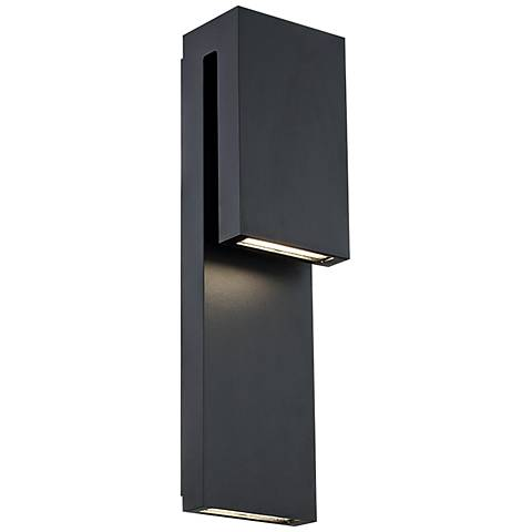 "Modern Forms Double Down 18""H Black LED Outdoor Wall Light"