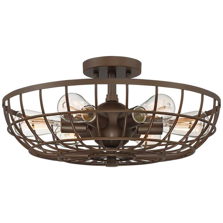 "Crane 18"" Wide Bronze Basket Cage 6-Light Ceiling Light"