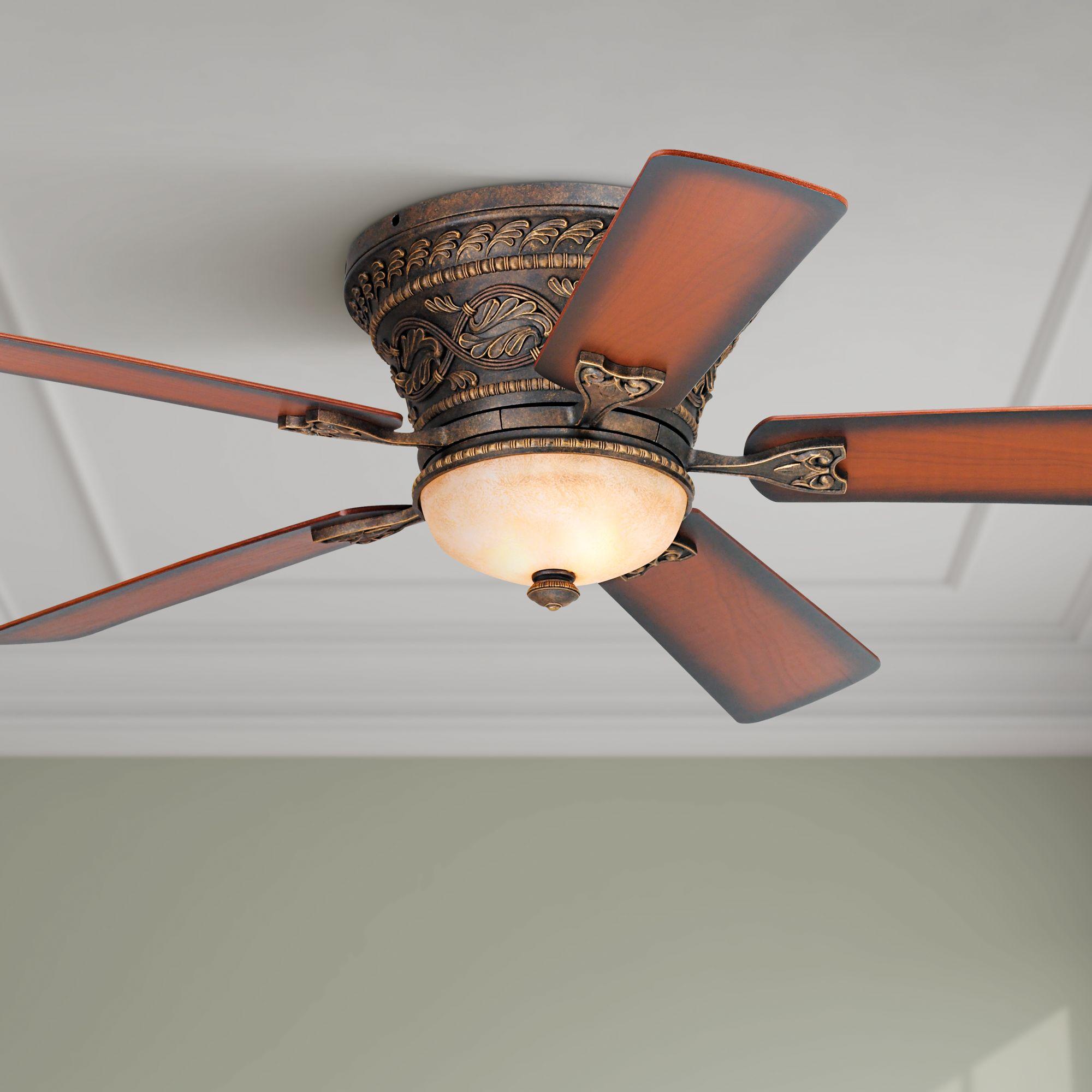 52 Vintage Hugger Ceiling Fan With Light Led Dimmable Remote Bronze Living Room Ebay