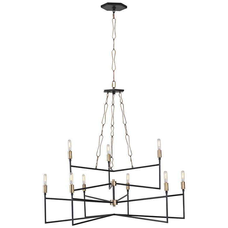 "Varaluz Bodie 36""W Havana Gold and Carbon 9-Light Chandelier"