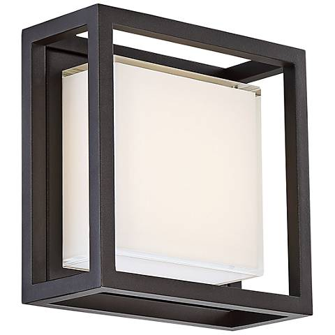 "Modern Forms Framed 8""H Bronze Square LED Outdoor Wall Light"