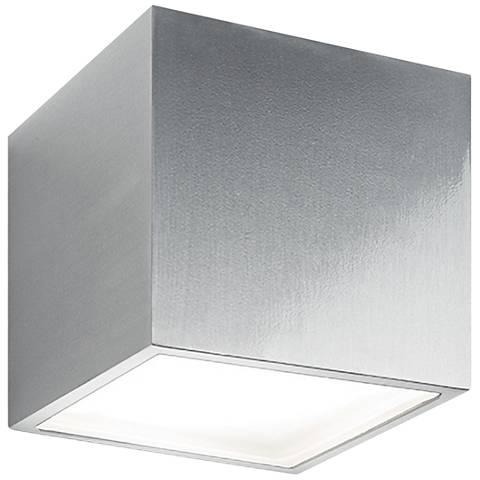 "Bloc 5 1/2"" High Brushed Aluminum LED Outdoor Wall Light"
