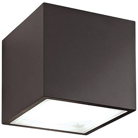 "Bloc 5 1/2"" High Bronze 2-Light LED Outdoor Wall Light"