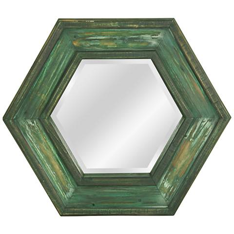 """Weathered Sage Wooden 28"""" x 28"""" Hexagon Framed Wall Mirror"""