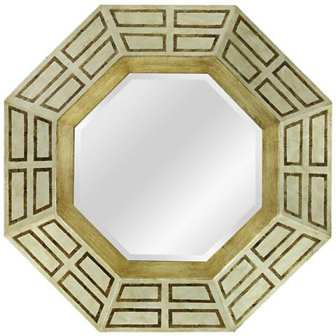 "Mid-Century Foiled 30"" x 30"" Octagon Framed Wall Mirror"