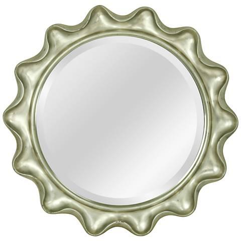 "Antique Silver 35 1/2"" Round Scallop Edge Wall Mirror"