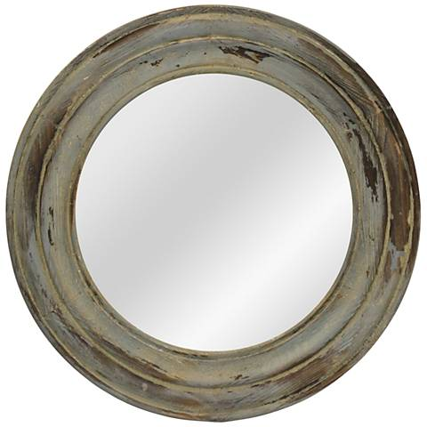 "Antique Blue Distressed 23 1/2"" Round Fir Wood Wall Mirror"