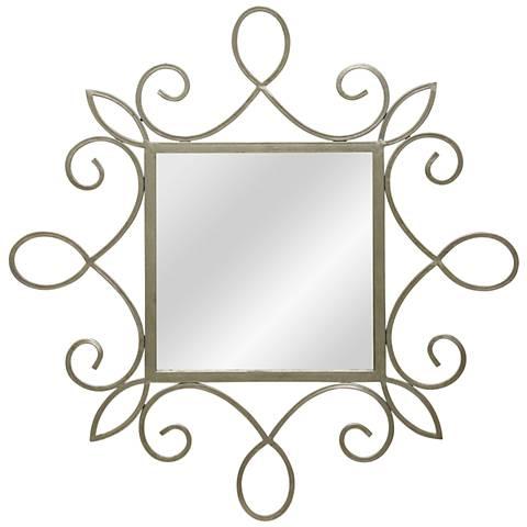 "Silver Foil 34 1/4"" x 34 1/4"" Scroll Trim Square Wall Mirror"