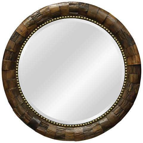"Natural Wood 38"" Round Wall Mirror with Nail Head Trim"