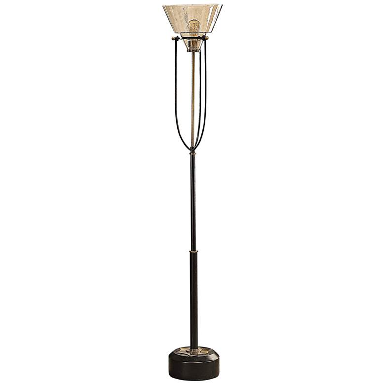 Uttermost Amaleeda Aged Black Torchiere Floor Lamp