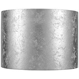 Silver Metallic Paper Drum Lamp Shade 14x14x10 Spider