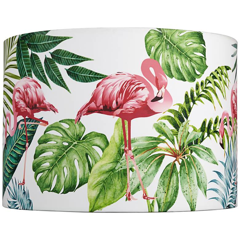 Flamingo with Palms Lamp Shade 14x14x10 (Spider)