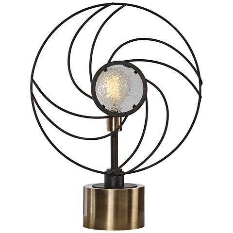 Uttermost Ventilador Black Whimsical Fan Buffet Table Lamp