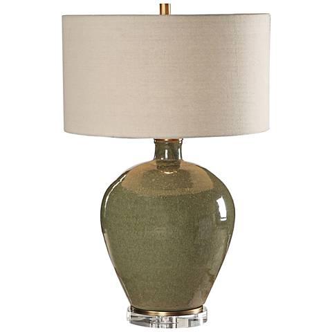 Uttermost Elva Emerald Green Glaze Ceramic Table Lamp