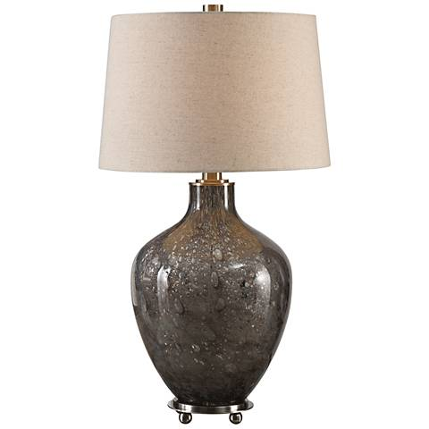Uttermost Adria Seeded Transparent Gray Glass Table Lamp