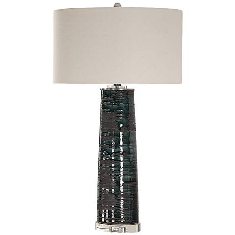 Uttermost Chamila Aged Teal Glaze Ceramic Table Lamp