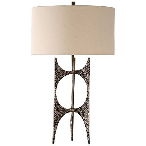 Uttermost Goldia Antique Golden Bronze Hammered Table Lamp