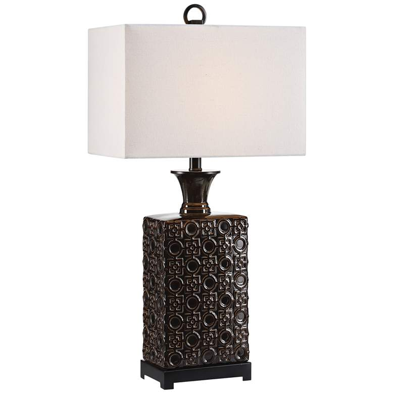 Uttermost Bertoia Black Patterned Ceramic Table Lamp