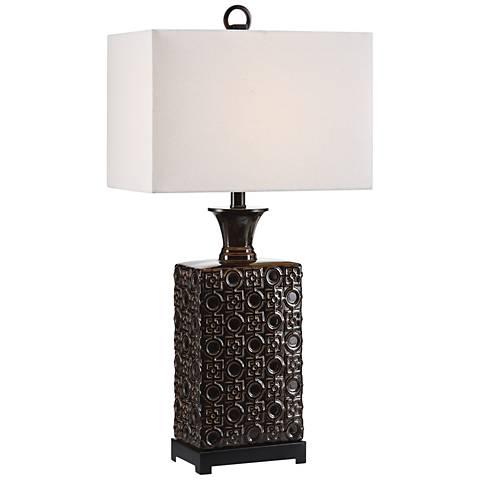 Uttermost Bertoia Black Patterned Ceramic Table Lamp